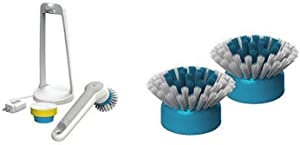 BLACK+DECKER Grimebuster Pro Power Scrubber Brush, Rechargeable with Replacement Bristle Brush Heads (BHPC110 & BHPC100A)