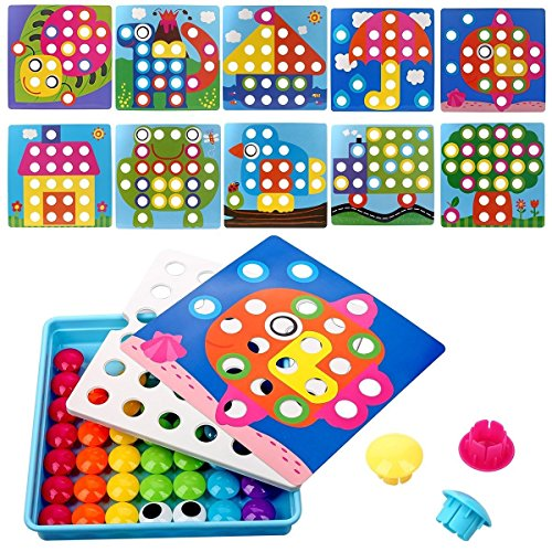 NextX Button Art Toy Color Matching Mosaic Pegboard Early Learning Educational Preschool Games for Kids' Motor Skills (Pink) by NextX (Image #1)