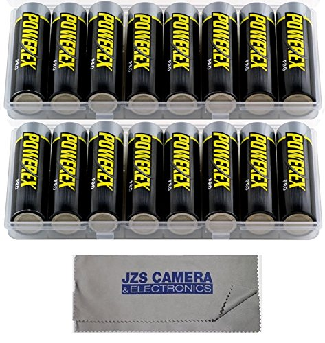 Powerex MH8AAPROBH [2700mAh, 1.2v] Pro AA Low Self Discharge Precharged Rechargeable NiMH Batteries (Set of TWO 8-Packs with Case) & JZS Microfiber Cloth