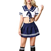 ANJAYLIA Schoolgirl Outfit Lingerie school girl costume with Socks