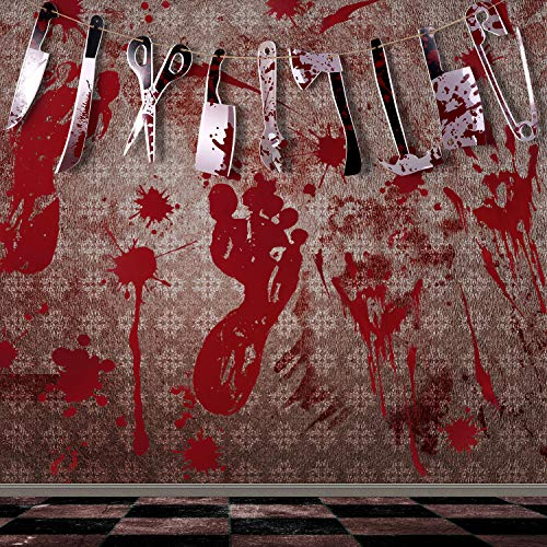 Gejoy 40 Pieces Bloody Footprint Handprint Floor Clings and 18 Pieces Scary Bloody Fake Weapon Garland Banner for Halloween Decoration