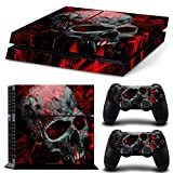PS4 Vinyl Decal Protective Skins Stickers Console Designer Cover Sony Playstation 4 n 2 DualShock Controllers Creative Real Survival Horror Vampire Style Red Blood Old Skull Nightmare Zombie War