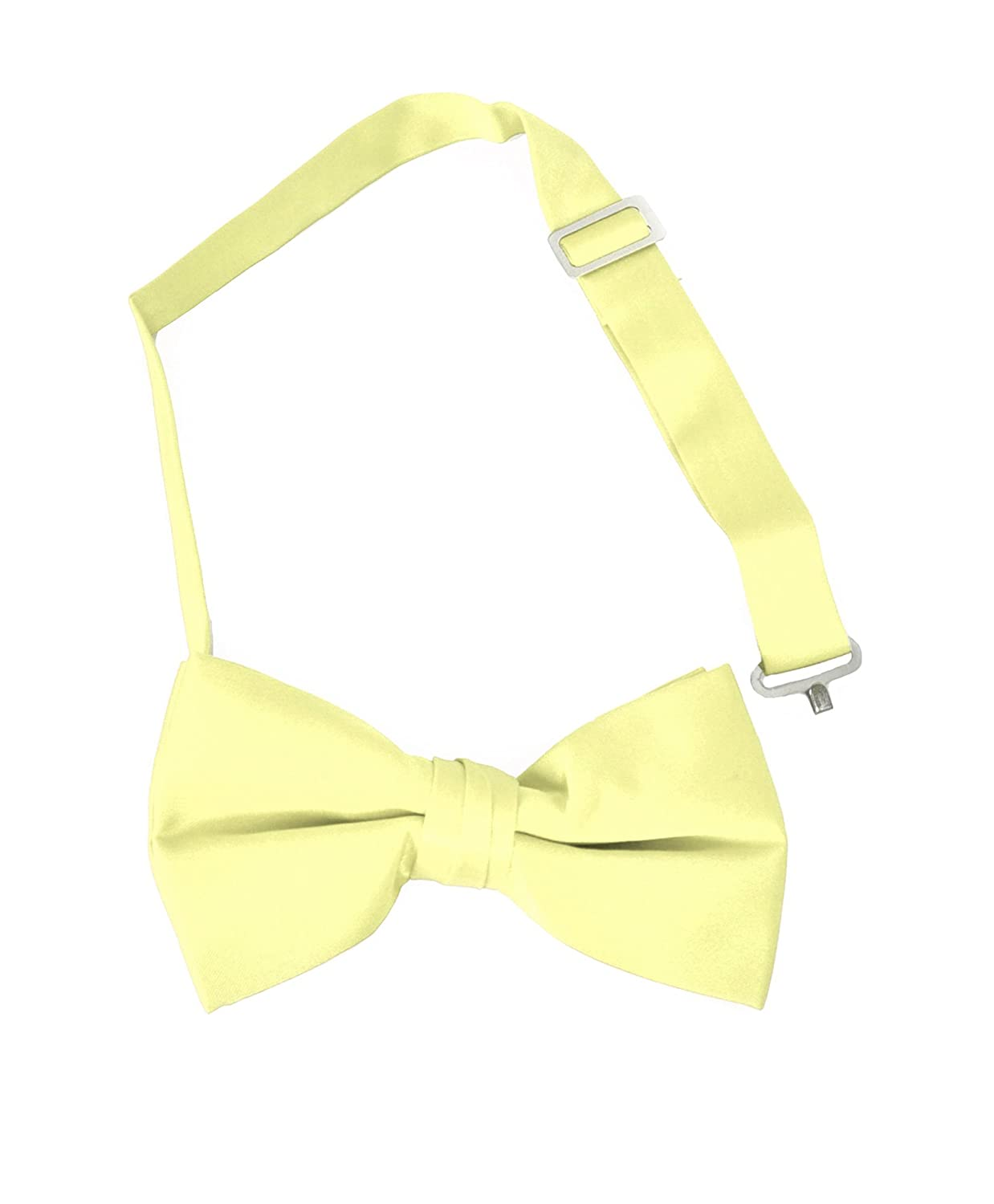 Boys Solid Banded Bow Ties 14.YELLOW