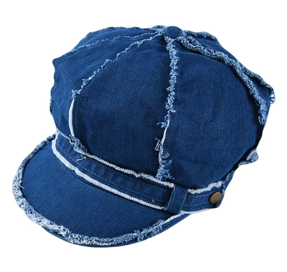 Qiabao 8 Panel Denim Cotton Newsboy Cap Gatsby Cabbie Hat for Women Blue