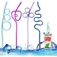 Plastic Rietjes 12 Stks, Herbruikbare Drinkrietjes Plastic Rietje voor Cocktails Melksap, Kleurrijke Lange Krullende…