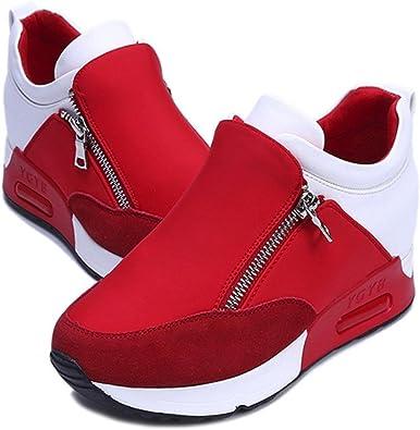 OHQ Chaussures De Sport Et Baskets à Fond éPais pour Femmes Noir Rouge Mode Sneakers Sports Courir RandonnéE ÉPaisseur Plate Forme Plate Cheville Bout