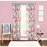 1pc Girls Purrty Cat Fish Pink Blue White Window Curtain, 84 Animal Pattern Single Panel, Gray Red Colour Kids Themed Teen Graphic Novelty Flower Microfiber Pretty Adorable Rod Pocket