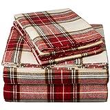 Pinzon 160 Gram Plaid Velvet Flannel Sheet Set - Queen, Cream/Red Plaid