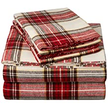 Pinzon 160 Gram Plaid Velvet Flannel Sheet Set - Queen, Cream/Red Plaid