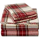 Pinzon Plaid Flannel Sheet Set - Queen, Cream/Red Plaid