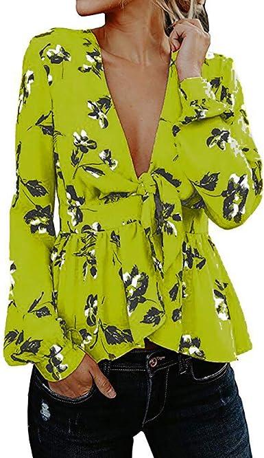 Sylar Camisa Manga Larga para Mujer Blusas De Mujer con Cuello V Profundo Mujeres Casual Camiseta Blusas De Mujer Estampado Floral Blusa para Mujer Otoño Camisetas Desigual Mujer: Amazon.es: Ropa y accesorios