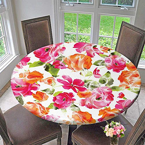 Mikihome Chateau Easy-Care Cloth Tablecloth Decor Collection Vivid Watercolor Style Lisianthus in Bloom Leaves Springtime Vibrant Floral Print for Home, Party, Wedding 67