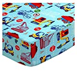 SheetWorld Fitted Pack N Play Sheet Fits Graco Square Playard 36 x 36 - Construction Zone - Made in USA