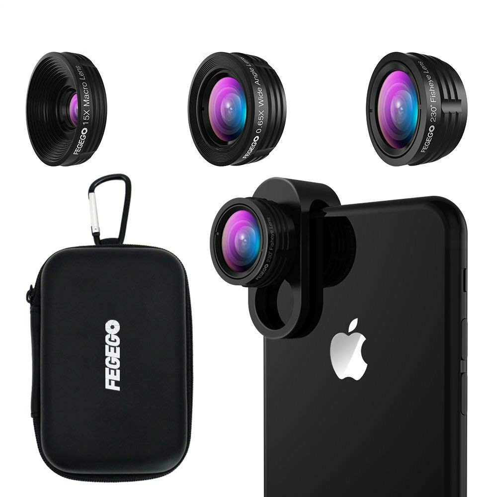 FEGEGO Camera Lens Kit for iPhone X/XR/8/7Plus/7/6sPlus, Samsung Phone and Other Cellphones (230° Fisheye Lens, 0.65X Super Wide Angle Lens, 15X Super Macro Lens)- Black