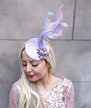 Lilac Lavender Light Purple Cream Sinamay Pillbox Hat Fascinator Races Vtg  4710 dccf0c06a67