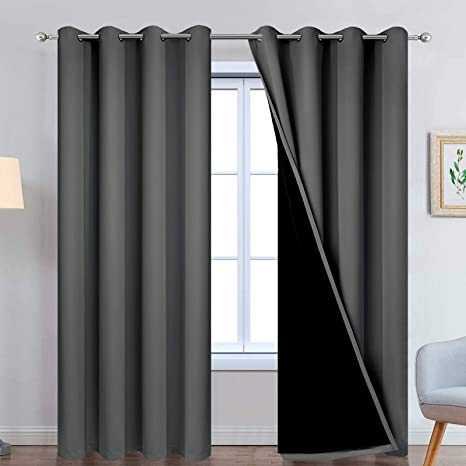 3Layers Blackout Window Curtains Eyelet Drapes Living Room Bedroom White Grey