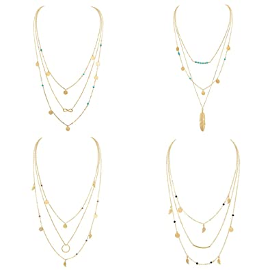 a7a82fc564e Layered Gold Boho Necklace Pendant for Women Multilayer Chain Beads Leaf  Disc Charm Costume Jewelry Sets