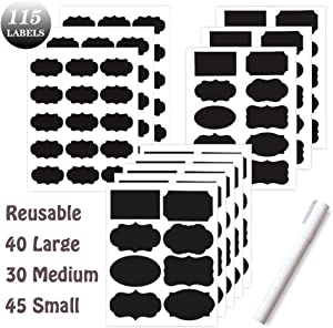 DaQi Chalkboard Labels Premium Bundle - 115 Reusable Label Stickers + Erasable White Chalk Pen - Waterproof Removable Pantry Labels for Mason Jars,Organizing Home,Kitchen and Office