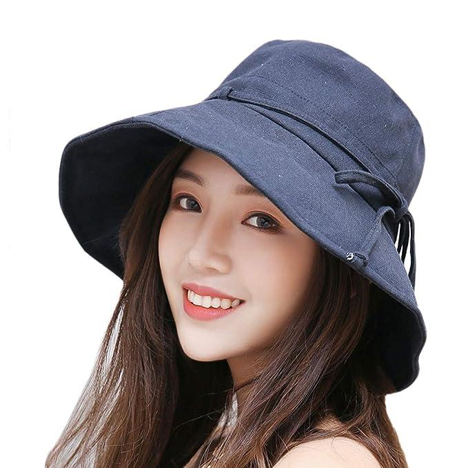 1a653fecc Yuccer Sombrero Mujer Verano Plegable, Algodón Protección Solar Gorro de Playa  Mujer Sun Hat for