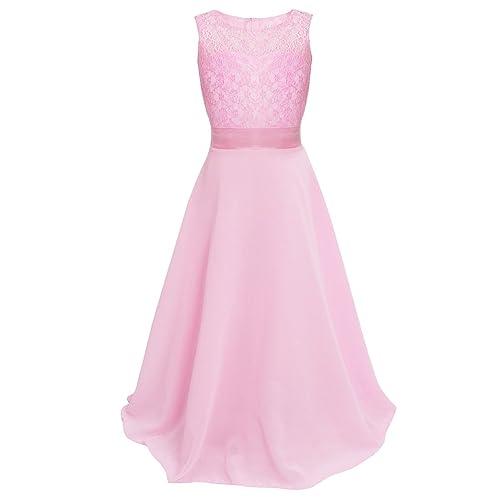 yizyif kids big girls lace maxi long pageant wedding formal chiffon dress