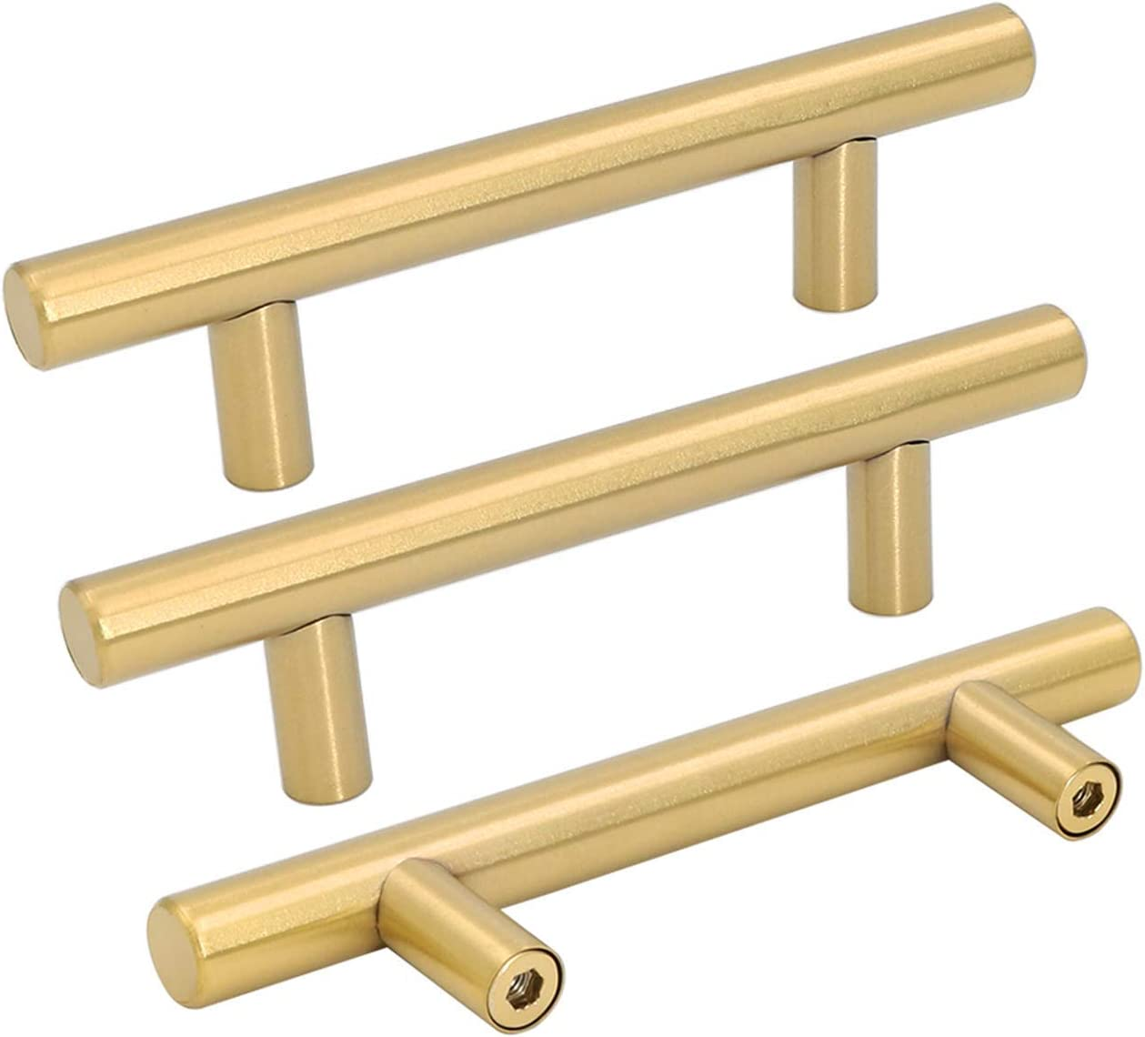 Goldenwarm 5pcs Brushed Brass Cabinet Cupboard Drawer Door Handle Pull Knob for Furniture Kitchen Hardware 3in Hole Center 5in Overall Length