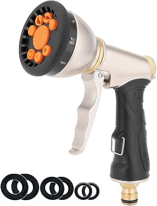 Topways® Boquilla de Manguera de Jardín, Ajustable 9 Modos Pistola Pulverizadora de Manguera de Metal Pesado, Boquilla de Manguera de Agua para Limpieza, Riego de Jardín: Amazon.es: Jardín