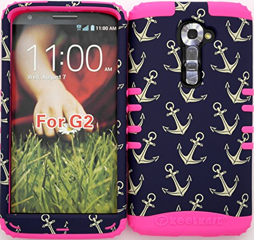 Wireless Fones TM High Impact Hybrid Rocker Case for LG G2 VS980 (Verizon only) Anchor Pattern on Pink Silicone (Verizon Lg G2 Bling Case)