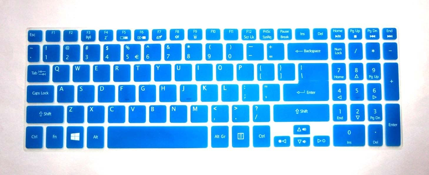 """BingoBuy Semi-Blue Backlit Ultra Thin Silicone Keyboard Protector Skin Cover for Acer Aspire V5-552 V5-552G V5-552P V5-552PG V5-572P V5-573P V5-573PG V7-582P V7-582PG series(if your """"enter"""" key looks like """"7"""", our skin can't fit) with BingoBuy Card Case for Credit, Bank, ID Card"""