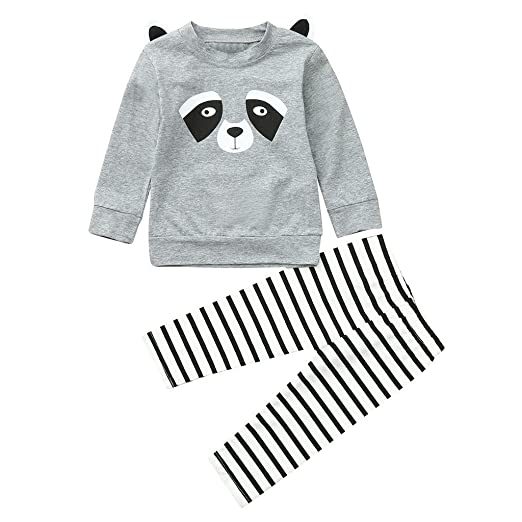 Clothing Sets Toddler Infant Baby Boys Girls Printed Panda Long Sleeve Top And Striped Pants Infant Clothes Outfits Sets For Baby Be Novel In Design