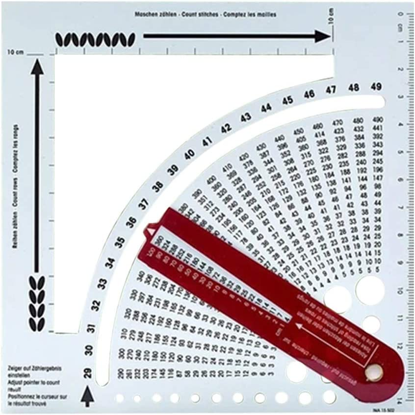 Mspring Knitting Gauge Converter Tool Knitting Counter Calculator Density Ruler for Knitting Works Crafts