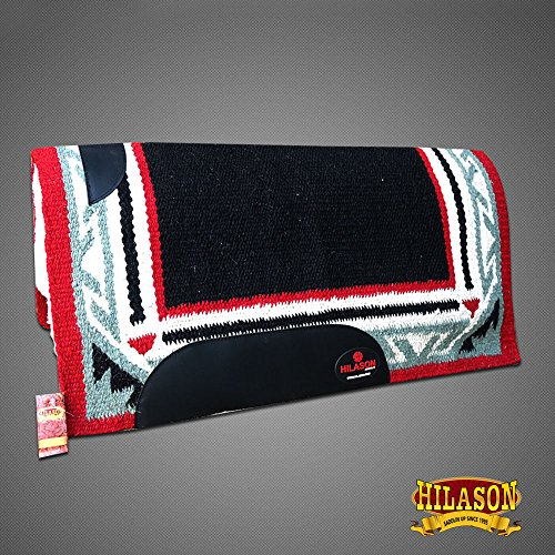 HILASON Made in USA Western Wool Shock Buster Saddle Blanket Pad Black Red