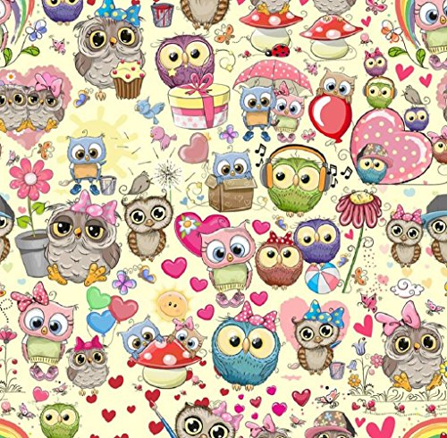 Euro Oeko-Tex Knit For the Love of Owls Design Fabric By the Yard, 92% Cotton, 8% Lycra, 60 Inches Wide, 4 Way Stretch, Medium Weight (4 yards)