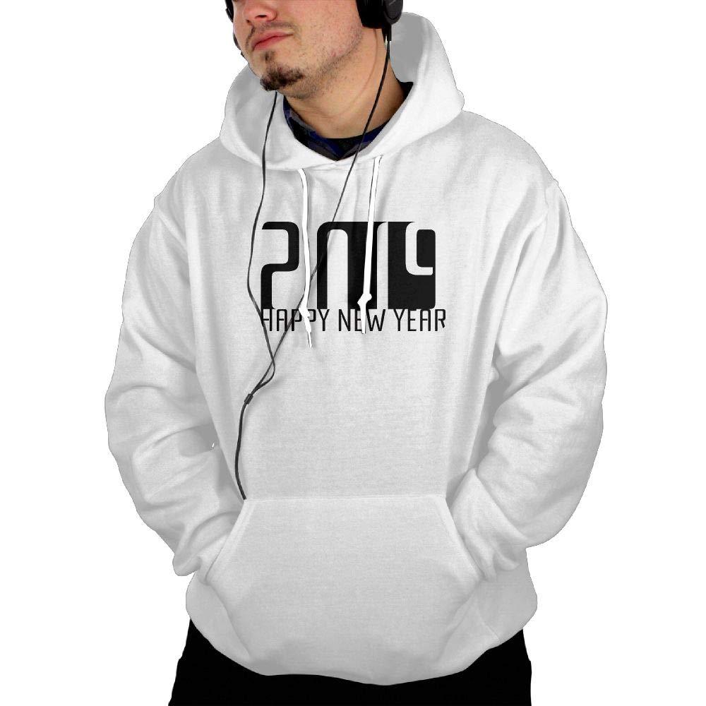 White XLarge Alickkd Tessd Mens Hooded Sweatshirt Happy New Year 2019 Fashion Hoodies