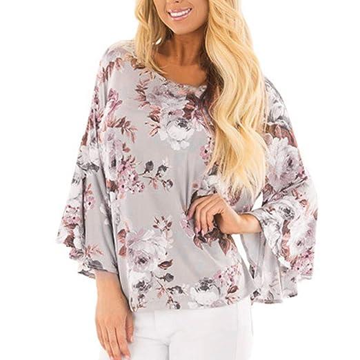ab13b324f0e42f Amazon.com: ℱLOVESOOℱ Fashion Women Flare Sleeve O-Neck Floral Printed  Blouse Tops Loose Casual T Shirt Summer: Clothing
