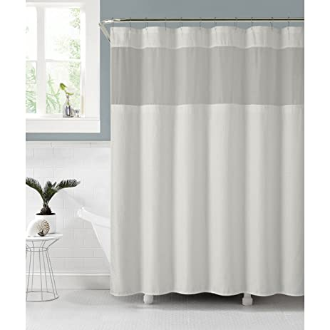 VCNY Celine Chic Fabric Shower Curtain With An Attached PEVA Liner