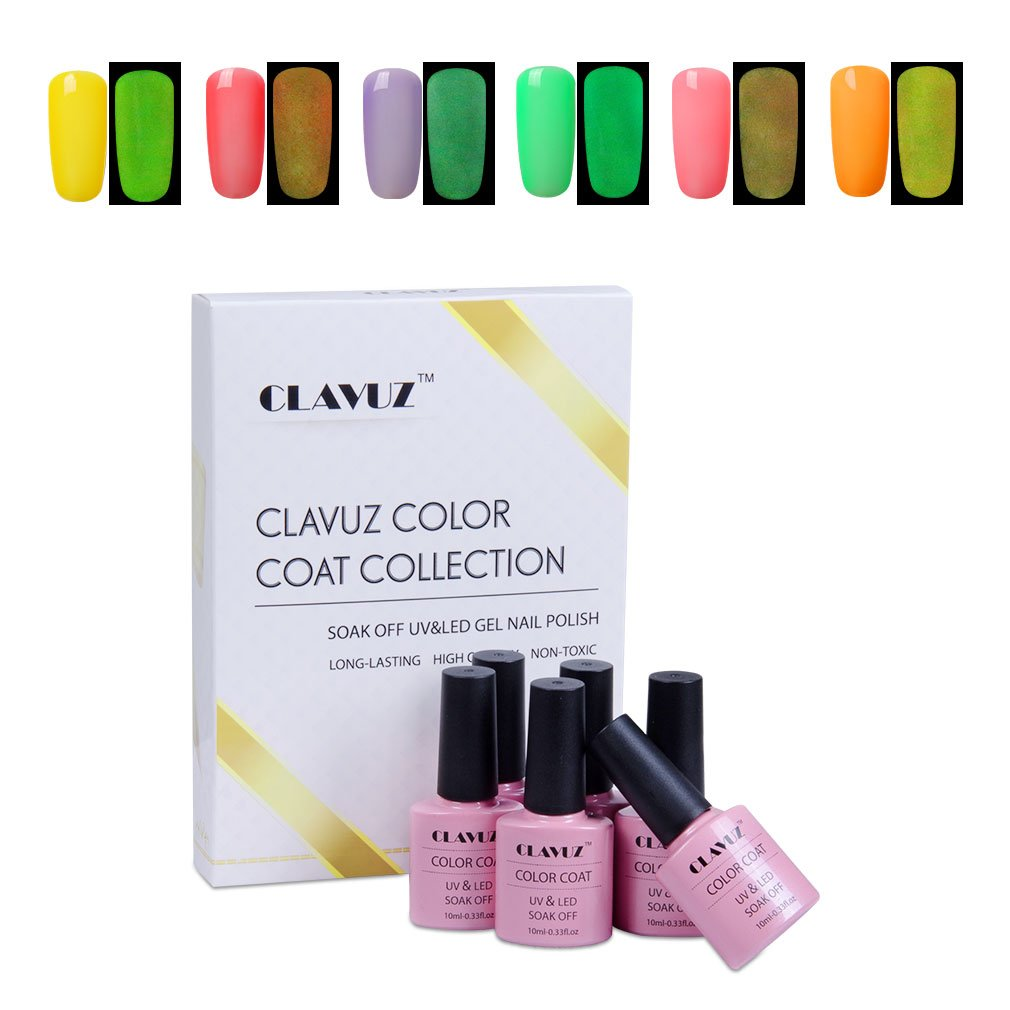 Amazon.com : Gel Nail Polish, CLAVUZ 6PCS Glow In the Dark Gel Nail ...
