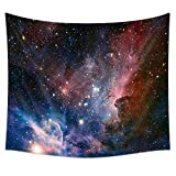 """Uphome Universe Galaxy and Lake Tapestry Wall Hanging, Light-weight Polyester Fabric Wall Decor (51"""" H x 60"""" W, Galaxy and Stars)"""