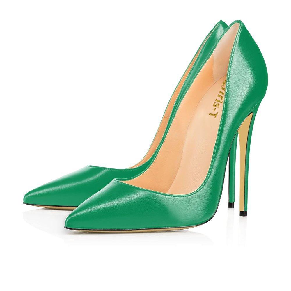 Chris-T Damen Formal Spitze Pumps Grund Legende Schuhe Hoher Absatz Schuhe Stilettos Sexy Slip-on Kleid Schuhe Absatz Grün Matt/R0te Sohle(unterseite) 00a979