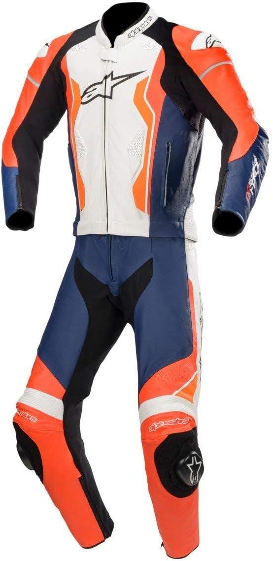 Alpinestars GP Force - Mono de piel para motocicleta, 2 piezas, color rojo, negro y blanco