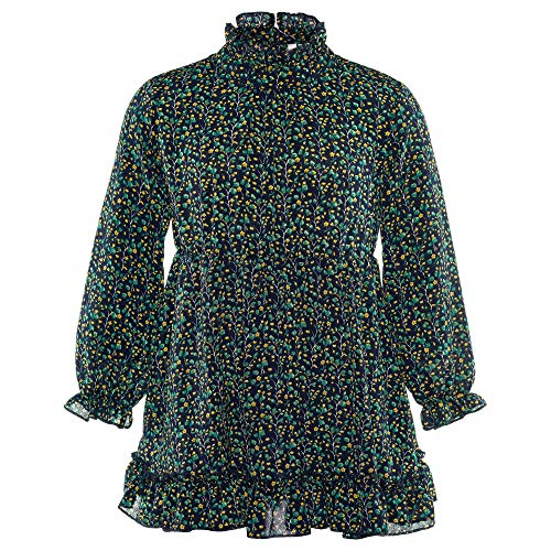ISPED Grils Dress Kids Girls Toddler Children Long Sleeve Dresses Crew Neck Girls Clothes Floral Pattern YM39 Blue Size -