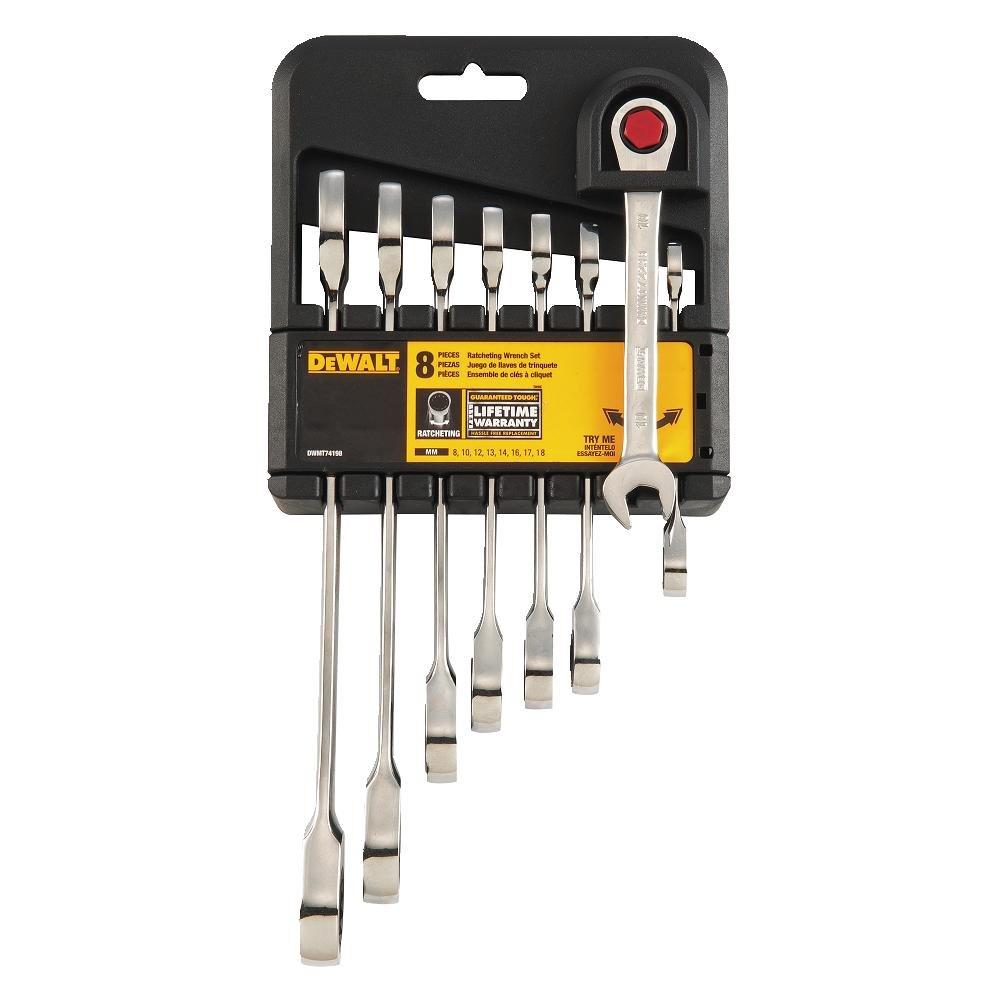 DEWALT DWMT74198 Ratcheting Metric Combination Wrench Set, 8 Piece