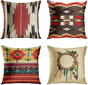 ArtSocket Set of 4 Throw Pillow Covers Native Tribal Cultural Geometric Western South Home Brown Patterns Decorative Pillow Cases Home Decor Square 18x18 Inches Pillowcases