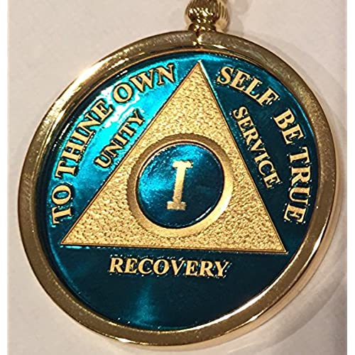 low-cost 1 Year Blue Gold Plated AA Medallion In Keychain Removable Sobriety Chip Holder