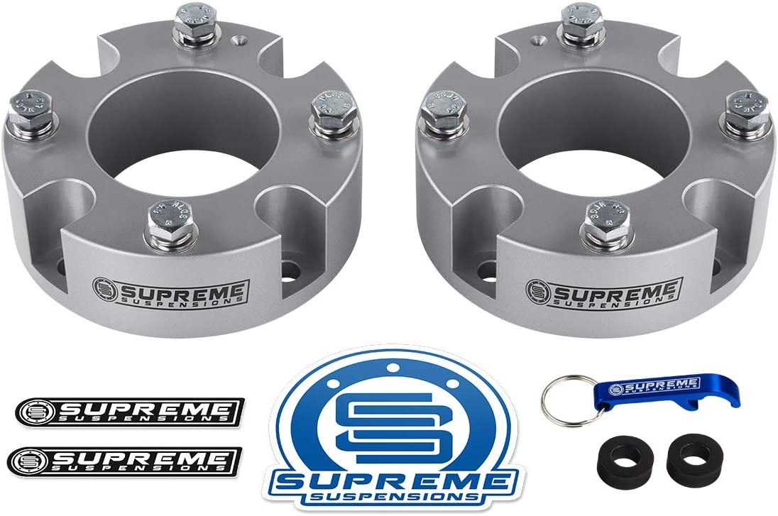 Supreme Suspensions PRO Silver Differential Drop Kit for 2007-2019 Toyota Tundra 4WD 4x4 CNC Machined T6 Aircraft Billet Diff Drop Spacers