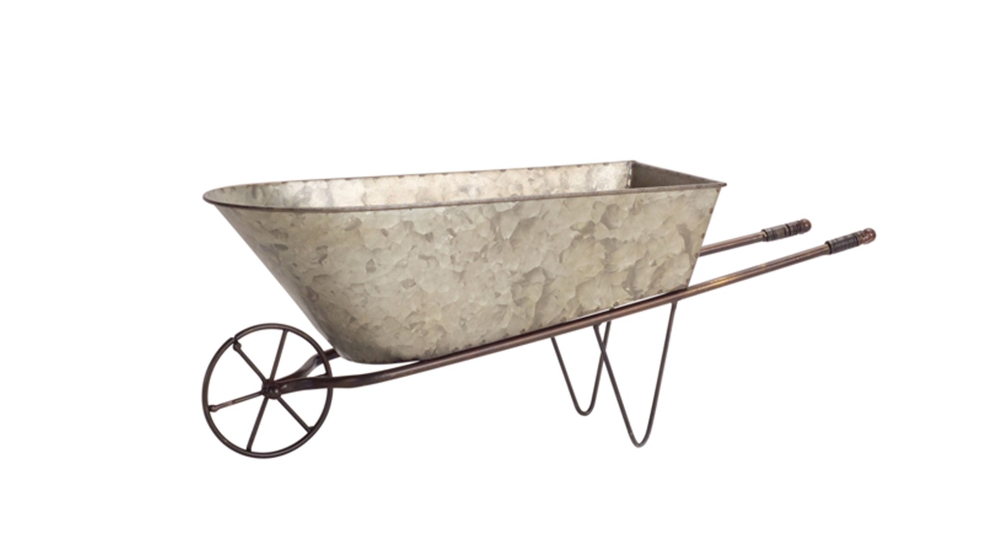 Diva At Home Set of 2 Country Rustic Galvanized Metal Wheelbarrow Planters 20.5''