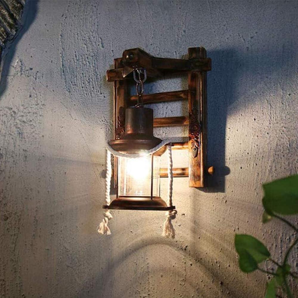 Luci Retr/ò in Legno E27 Rustico Lampada Parete Soggiorno Camera Letto Semplice Lampada Parete Creativa Vintage Nostalgia Antica Lampada Parete Design Dinterni Adatta Per Bar Loft Cafe Ristorante