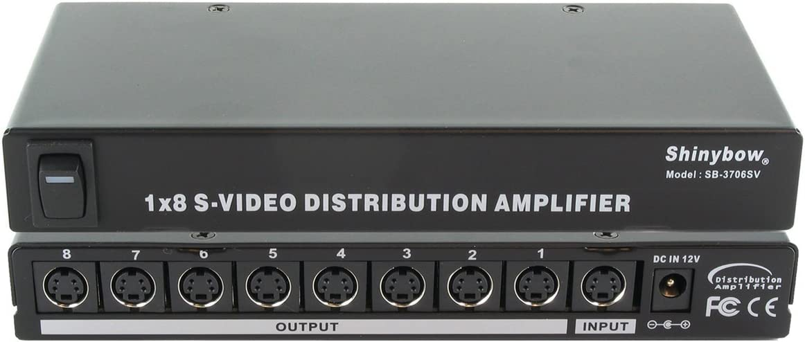 Shinybow 1x8 (1:8) 8-Way S-Video (Y/C) Video Splitter Distribution Amplifier SB-3706SV