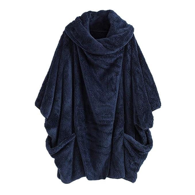 Suelta Tejer Camisa Abrigo Jersey de Las Mujeres Sudadera de Tallas Grande,EUZeo Escote Pico