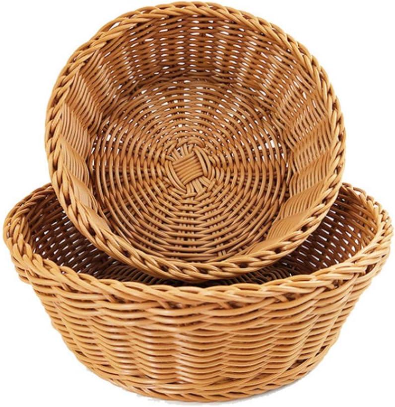 Fruit Woven Basket, Vintage Round Fruit Wicker Bread Tray, Stackable Tabletop Food Vegetables Serving Basket, Kitchen Snacks Handwoven Basket