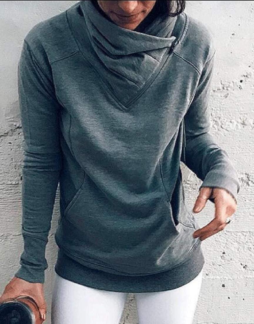Women Casual Turtleneck Pullover Long Sleeve Sweatshirt Tops Blouses